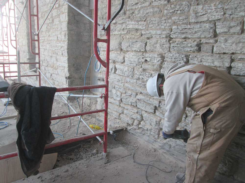 Masonry repair on A Mill Artists Lofts